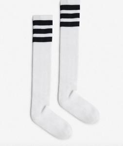 American Apparell White//Black Stripped High Socks