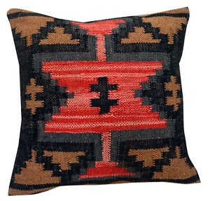 Vintage-Jute-Cushion-Cover-Throw-Indian-Handmade-Kilim-Rug-Pillow-Handloomed-103