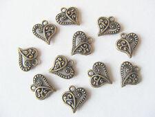 10 Metal Antique Bronze Colour Filegree Ornate Heart Charms - 14mm