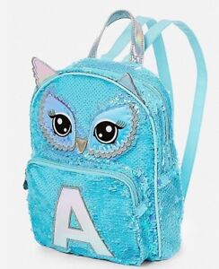 CHOOSE LETTER~NWT JUSTICE Owl Flip Sequin Initial MINI Backpack ... 8e33dad6389b8