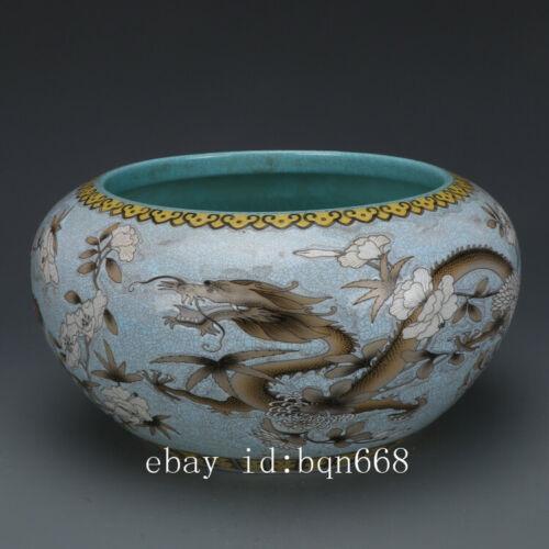 "11/"" China antique Porcelain blue glaze famille rose peony dragon bursh  A pair"