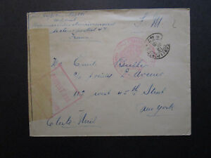 France-1915-Military-Censored-Cover-to-New-York-Stamp-Removed-Z7101