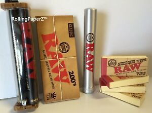 200-RAW-King-Size-Slim-Papers-Wide-Tips-2-way-Rolling-Machine-Metal-Tube