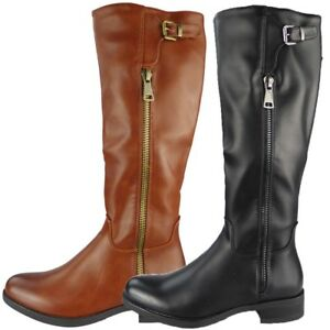 4224fcdb1fd4 Womens Boots Below Knee Long Mid Calf Rider Boots Zip Heel Winter ...