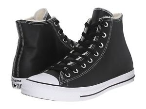 5a6a1c27b4bf Converse chuck taylor all star hi Black leather shearling black ...