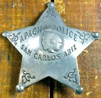 APACHE POLICE AZ ARIZONA 5 POINT STAR SHAPE COPPER SILVERPLATE WESTERN PIN BADGE