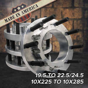 USA 10 Lug 10x225 to 10x285 | 19.5 to 22.5/24.5 Semi Wheel Adapters | FORD DODGE