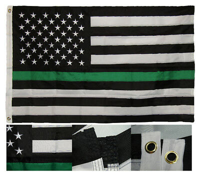 3x5 Embroidered USA Thin Green Line Border Patrol Federal Agent Nylon Flag RAM