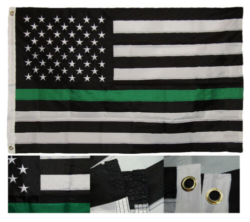 RAM 3x5 Embroidered USA Thin Green Line Border Patrol Federal Agent Nylon Flag
