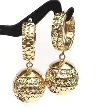 18k Solid Yellow Gold Big Ball Hoop Dangle Earrings Diamond Cut Design 5.65Grams