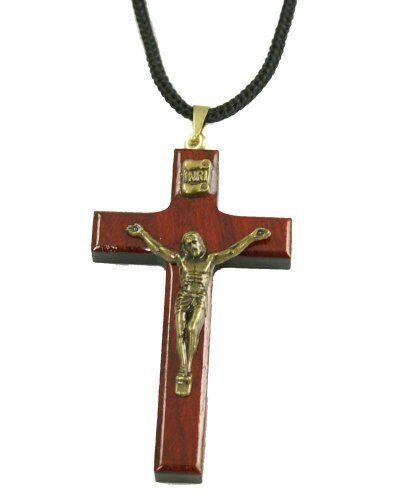 c8083eabb11 Mens Cherry Wood Cross Necklace Crucifix Pendant Rope Jewelry Catholic  Favor for sale online | eBay