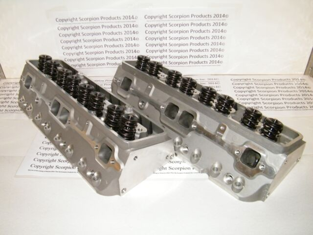 SBC Aluminum Cylinder Heads 220cc Solid Flat Tappet Racing Cylinder Heads 350