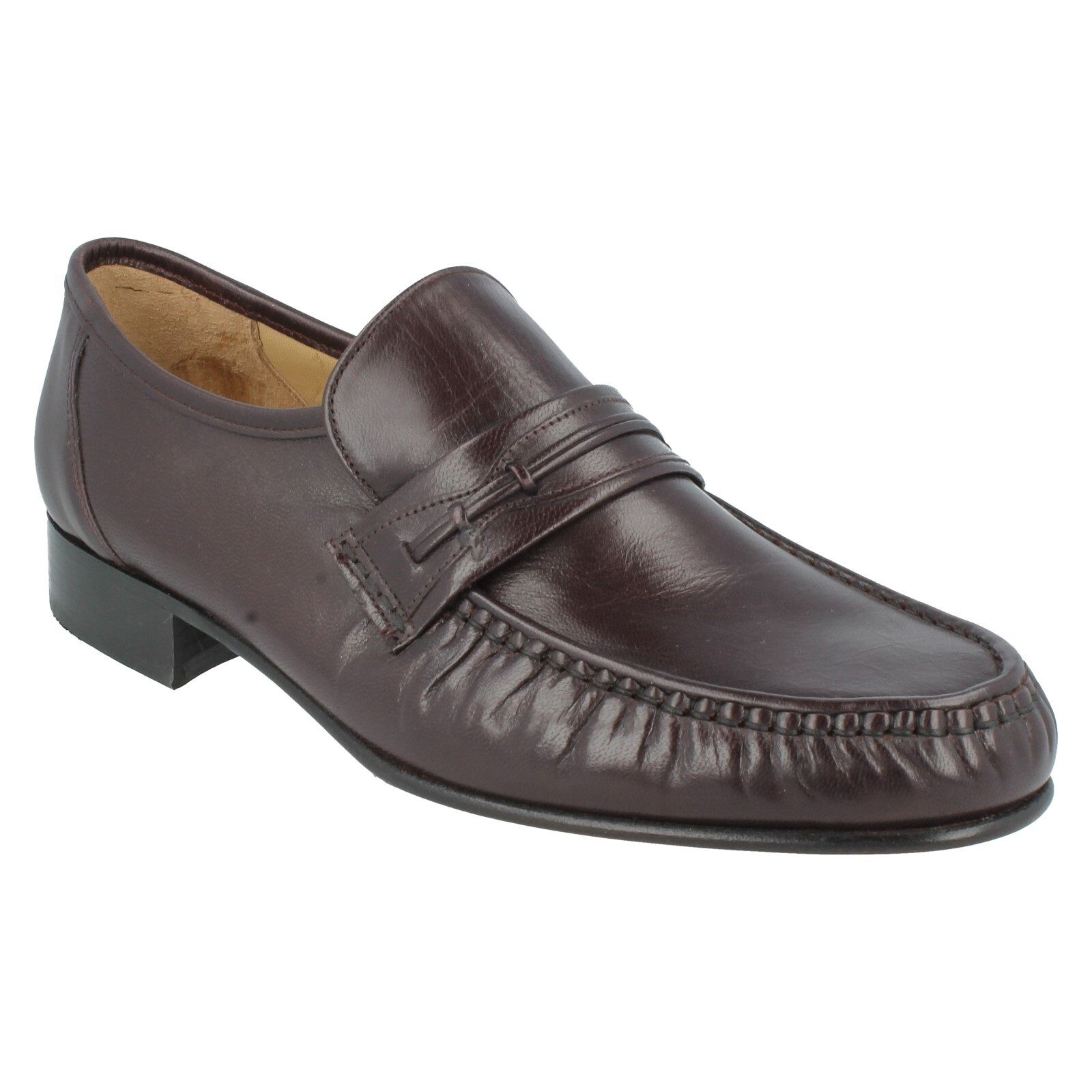 Orlando Homme GRENSON Bourgogne Cuir Slip On Mocassin Formal Work Chaussures Taille 8