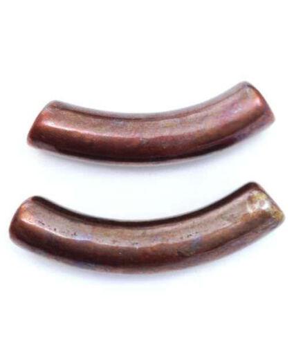 Keramik Röhrchen kupfer 28mm 2 Stück gebogen Keramikperlen griechisch