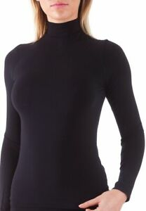 Bellissima-Women-039-s-Long-Sleeve-Mock-Neck-Top-Stretch-Slim-Lightweight-Pullover