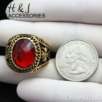 Men Stainless Steel Gold Black Oval Ruby Vintage Ring Size 8-13ar88
