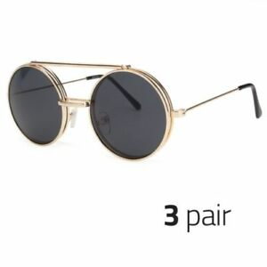 aed5876727 Details about 3 PAIR Cool Flip Up Lens Steampunk Vintage Retro Round  Sunglasses GOLD BLACK o