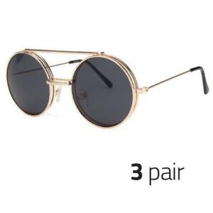 ff57bda047c54 Details about 3 PAIR Cool Flip Up Lens Steampunk Vintage Retro Round  Sunglasses GOLD BLACK o