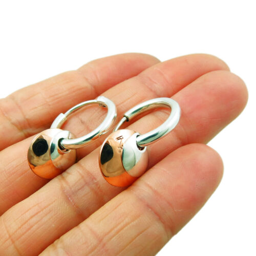 925 Sterling Silver and Copper Hoops 2 Way Circle Earrings