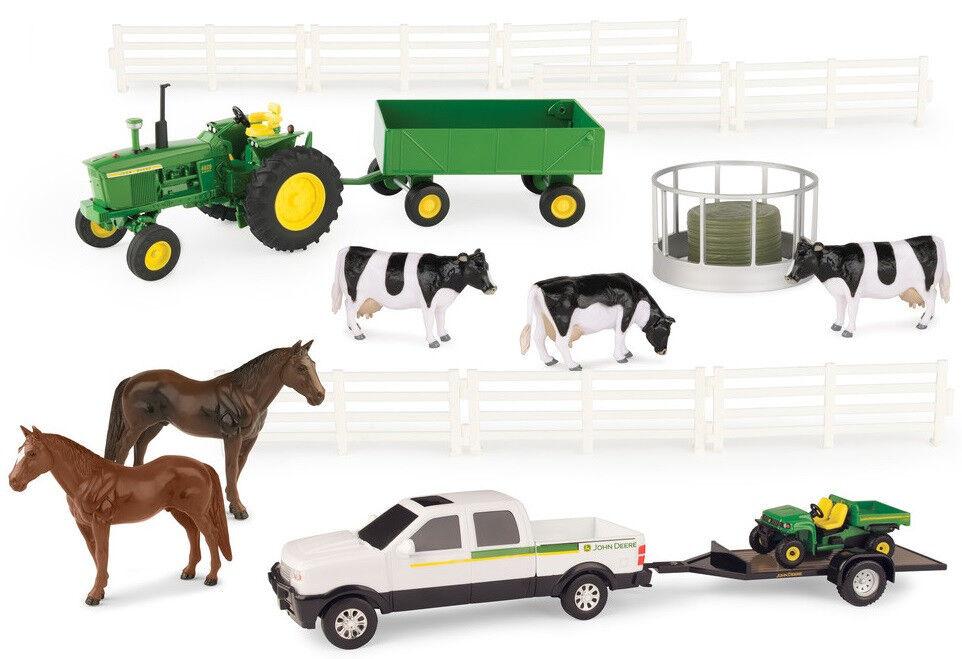 ERT46683 - Ensemble fermier avec tracteur JOHN DEERE, animaux, accessoires, 4x4