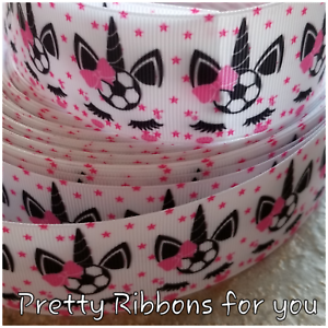 """Soccer Unicorns 1.5/"""" wide grosgrain ribbon the listing is for 5 yards"""