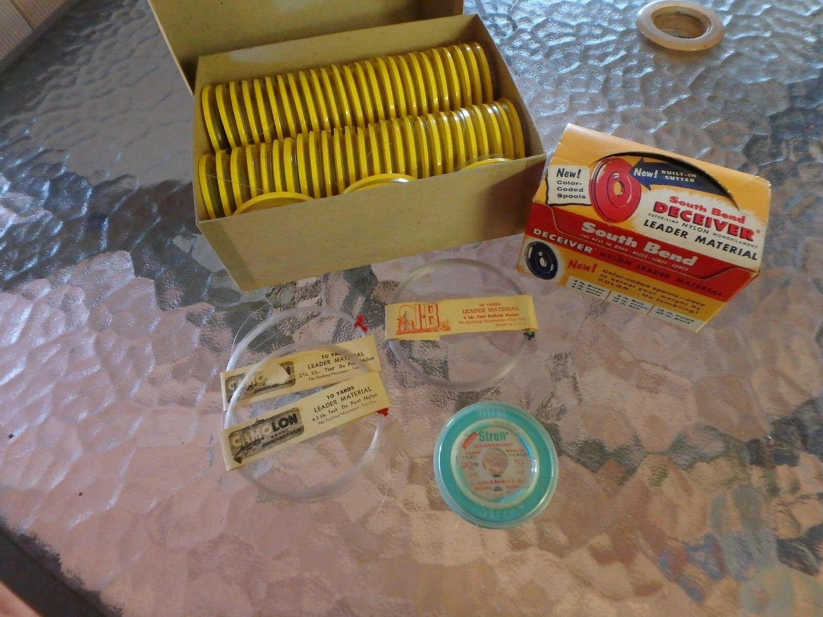 Vintage South Bend Western  Leader Material Spools Deceiver JB Camolon Stren   top brands sell cheap