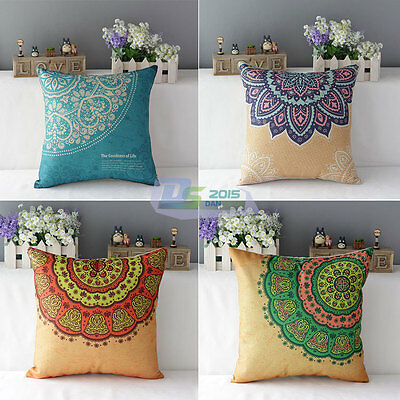 European Vintage Cotton Linen Throw Pillow Case Back Cushion Cover Sofa Decor