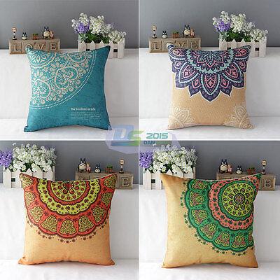 European Vintage Cotton Linen Throw Pillow Case Back Cushion Cover Sofa Decor