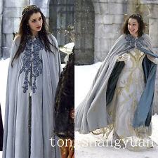 Bling Lace Bridal Cape Faux Fur Trim Blue Floor-length Wedding Cloak White Ivory