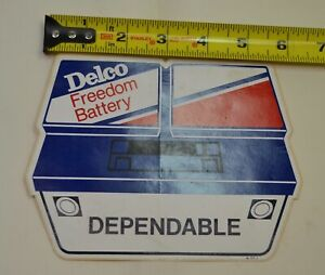 Vintage-AC-Delco-Freedom-battery-Dependable-Battery-Shaped-Sticker-Rare-70s-80s