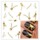 Fashion Gold/Silver Zipper Smart Nail Art Water Transfer Sticker Decals Metallic