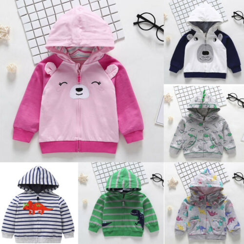 Toddler Baby Boys Autumn Long Sleeve Tops Hoodie Zip Warm Outfits Coat Shirts XI