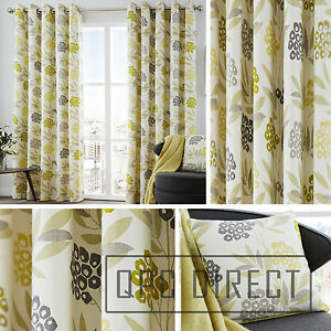Pair-of-Floral-Leaf-100-Cotton-Eyelet-Ring-Top-Lined-Curtains-Lime-Ochre-Grey