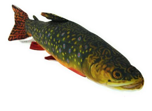 Fisch Kissen Geschenk Angler Kuscheltier Kopfkissen Plüschtier Bachsaibling 35cm