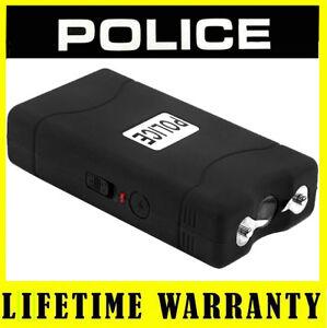 POLICE-Mini-Stun-Gun-800-Black-50-BV-Rechargeable-With-LED-Flashlight-Taser-Case