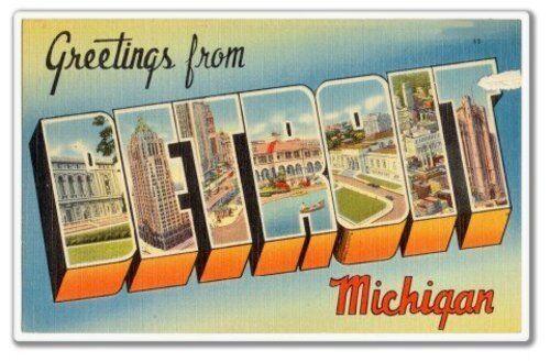 Salutations de Detroit Michigan Vinyle Autocollant-sélectionnez la taille