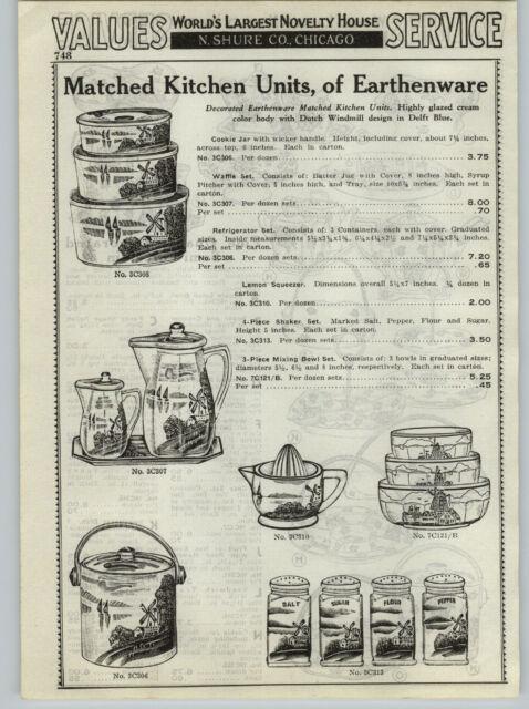 1937 PAPER AD Swastika Logo Stoneware Growler Stein Mug Earthenware Mixing Bowls