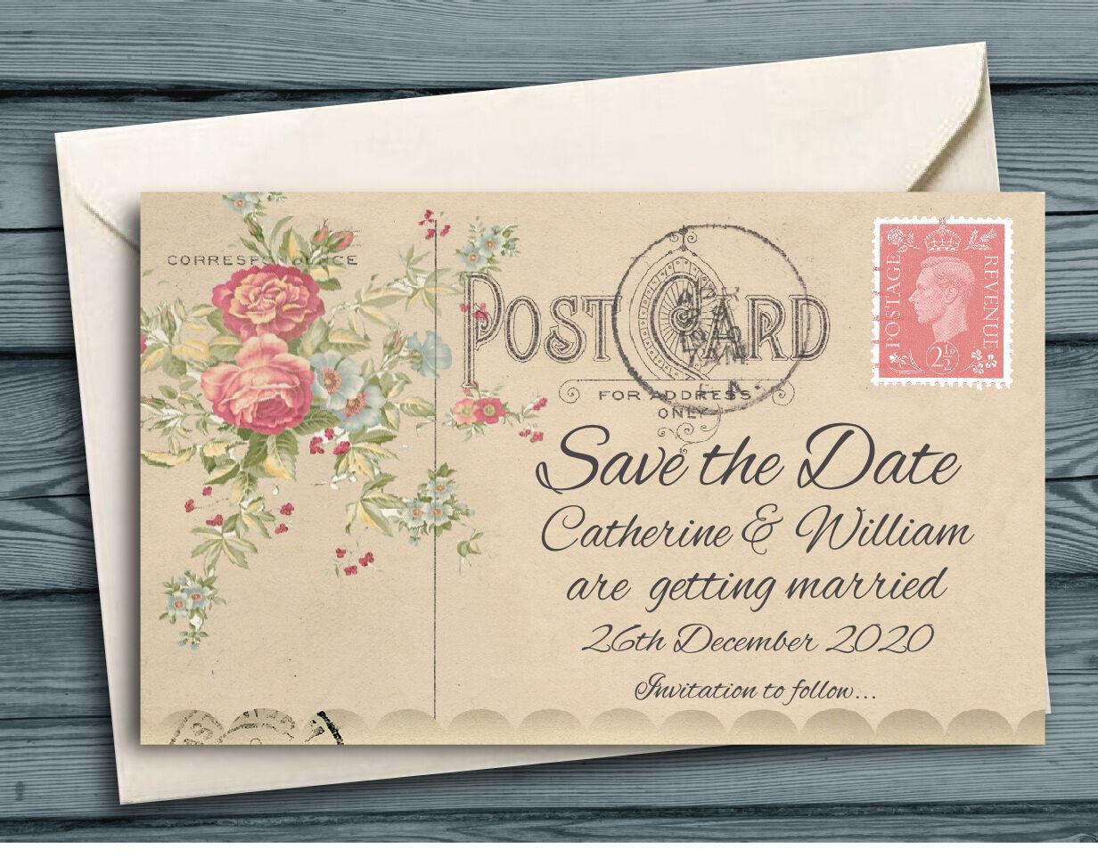 Save the Date aimants personnalisé-Vintage Mini Fleur CARTE POSTALE avec enveloppes