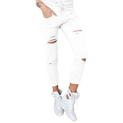 Women's Denim Skinny Ripped Pants High Waist Elastic Jeans Slim Pencils Trousers