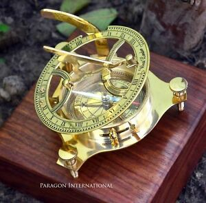 "4"" SUNDIAL NAUTICAL COMPASS VINTAGE SHINY BRASS 4"" FINISH w WOOD BOX"