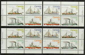 CANADA-776-779-14-Ice-Vessels-Match-Set-of-Inscription-Blocks-MNH