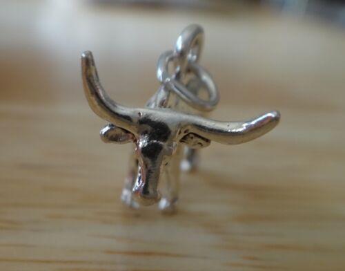 1 Sterling Silver 3D 15x22x12mm 4 gram Bull Texas Longhorn Steer Charm