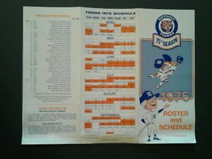 1975-Detroit-Tigers-Baseball-Tri-Fold-Schedule-Ticket-Brochure-Roster-RARE