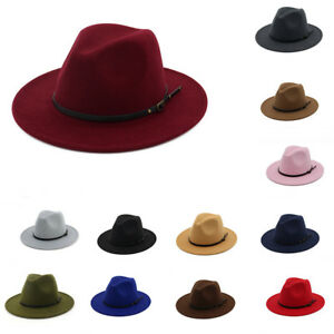 b7e7be9f45 Details about Women's Wool Felt Outback Hat Panama Hat Wide Brim Belt  Buckle Fedora Hats CA