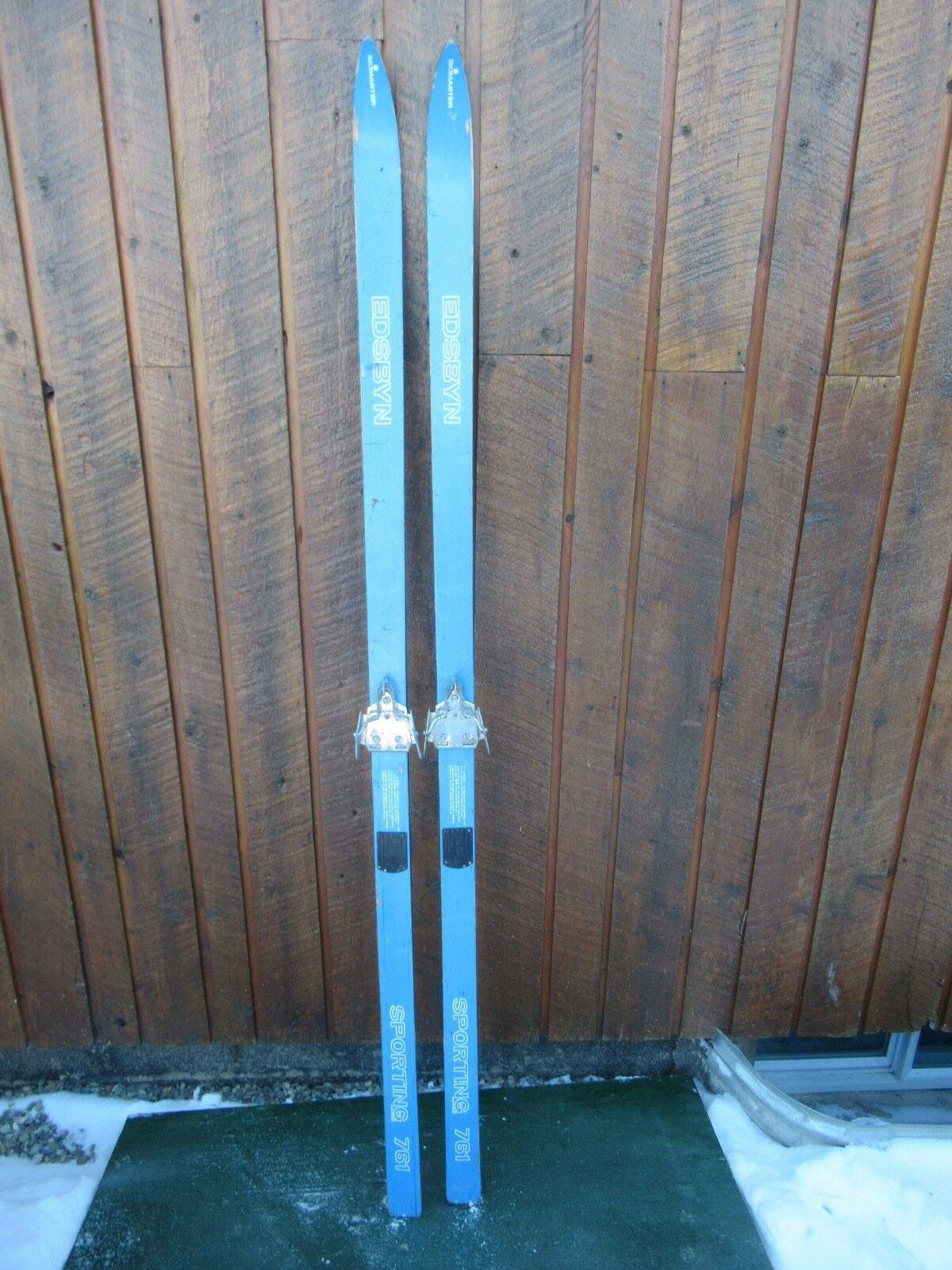 Old Set of Wooden Skis Measures 70  Long with bluee Finish