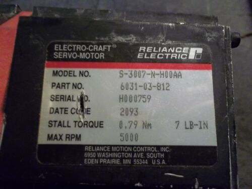 Reliance Electric S-3007-N-H00AA Servo Motor Part# 6031-03-812 w// Gearbox CC4