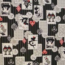 Fat Quarter Alice In Wonderland Black Grey Stripe Cotton Linen Quilting Fabric