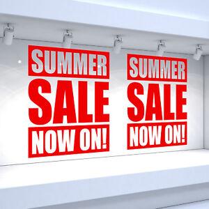 2 X Summer Sale Maintenant! Shop Fenêtre Vinyle Autocollants Détail Decals-afficher Le Titre D'origine Doux Et LéGer