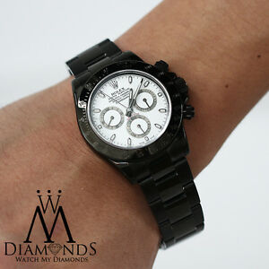 Details about Exclusive Rolex Daytona 40mm Black PVD White Dial Oyster  Bracelet , 116520