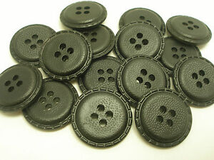 New-lot-8-Faux-Leather-Black-Buttons-Jackets-Coat-1-inch-7-8-3-4-5-8-FB